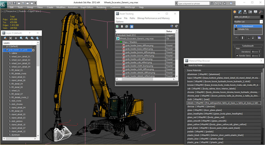 Wheeled Excavator Generic royalty-free 3d model - Preview no. 23