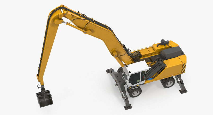 Wheeled Excavator Generic royalty-free 3d model - Preview no. 7