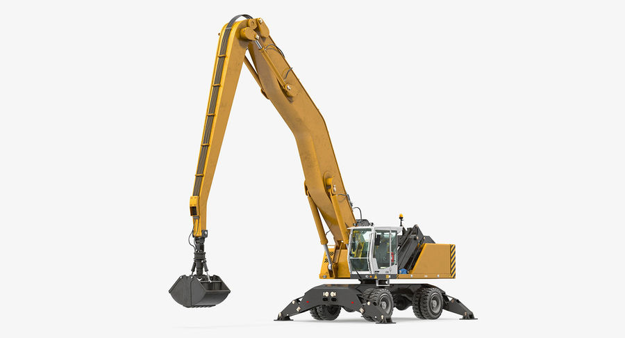 Wheeled Excavator Generic royalty-free 3d model - Preview no. 2
