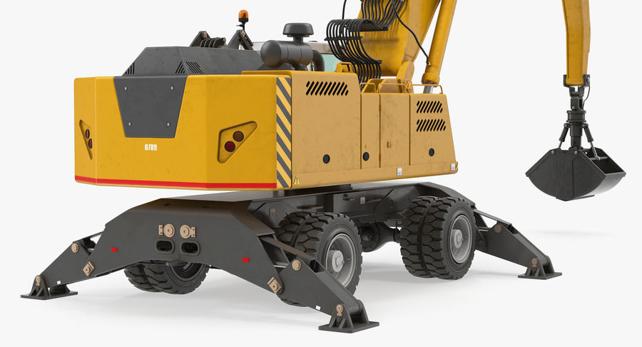 Wheeled Excavator Generic royalty-free 3d model - Preview no. 10