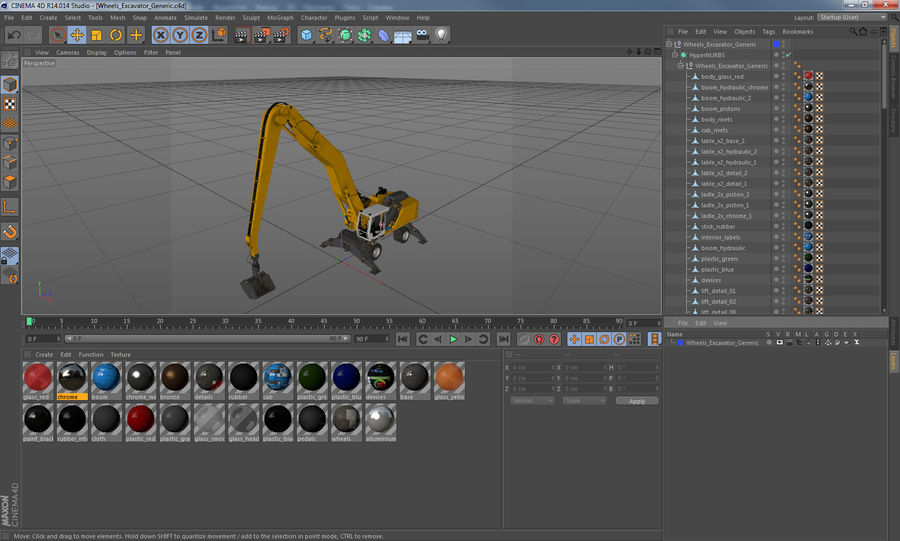 Wheeled Excavator Generic royalty-free 3d model - Preview no. 21