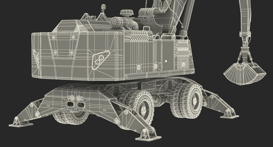 Wheeled Excavator Generic royalty-free 3d model - Preview no. 24