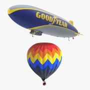 Collectie hete luchtballon en luchtschip Blimp 3d model