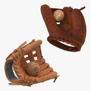 Collection de gants et de balles de baseball 3d model