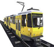 Метро поезд Берлинский трамвай с рельсами (грязный) 3d model