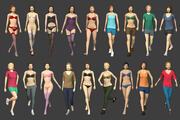 Elementi essenziali femminili truccati Lowpoly 3d model