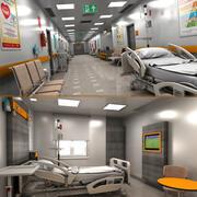 Krankenhaushalle und Zimmer 3d model