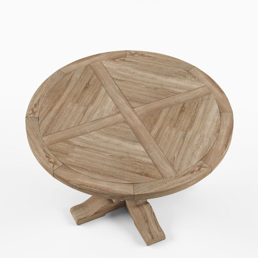 Salvaged Wood Trestle Round Dining Table 3d Model 6 Obj Max Fbx 3ds Free3d