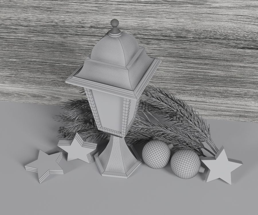 Lanterne de noël royalty-free 3d model - Preview no. 6