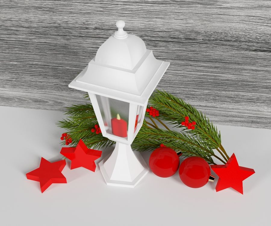 Lanterne de noël royalty-free 3d model - Preview no. 4