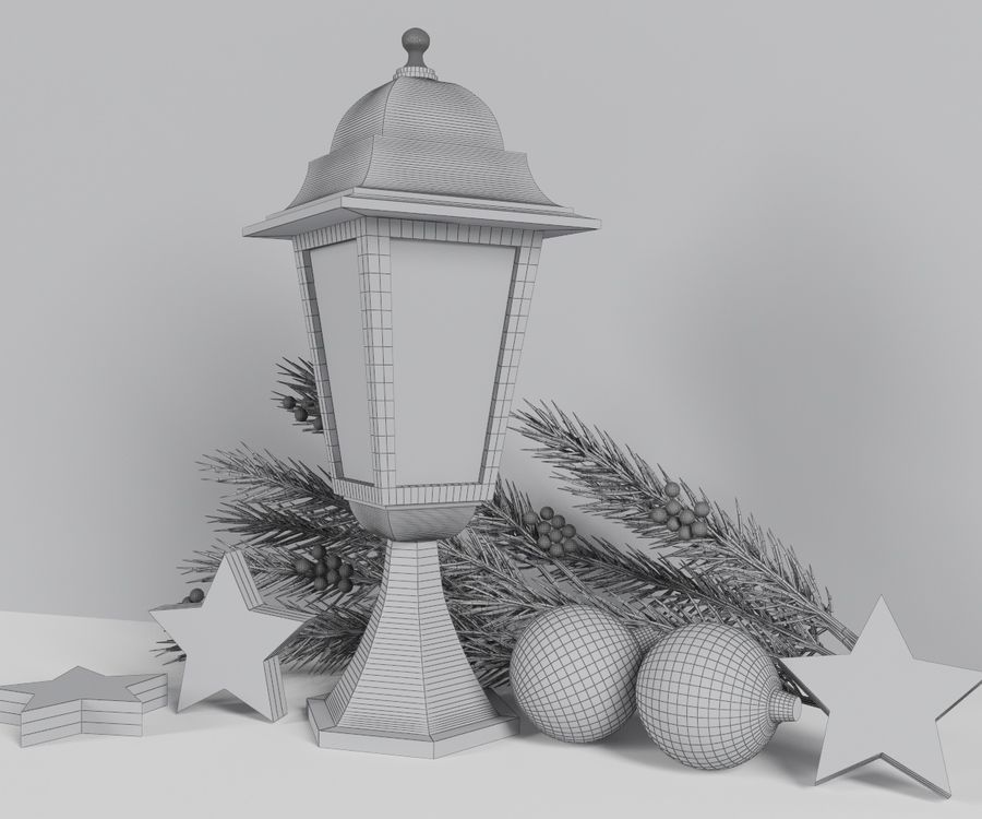 Lanterne de noël royalty-free 3d model - Preview no. 5
