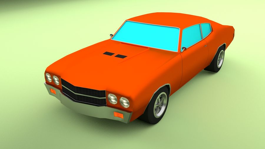 Simple Muscle Car royalty-free 3d model - Preview no. 2