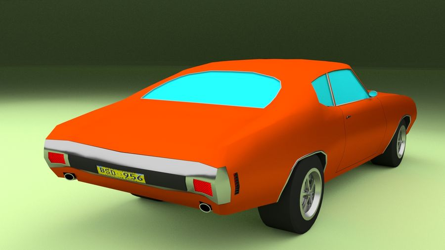 Simple Muscle Car royalty-free 3d model - Preview no. 6