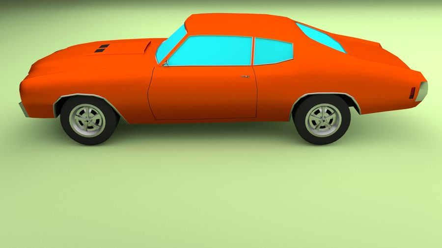 Simple Muscle Car royalty-free 3d model - Preview no. 3