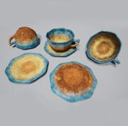 Teacup Blue Glazed 3d model