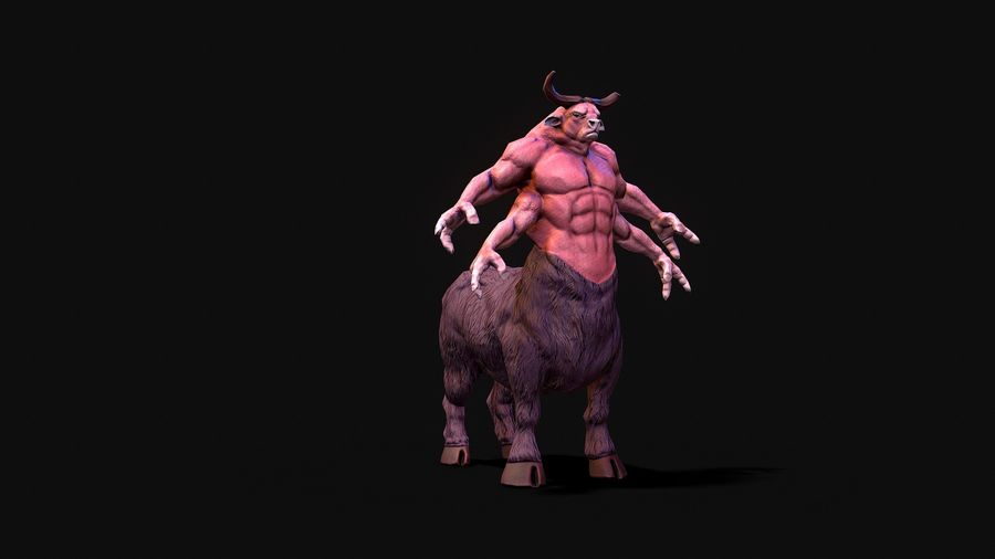 Guerrier taureau royalty-free 3d model - Preview no. 8