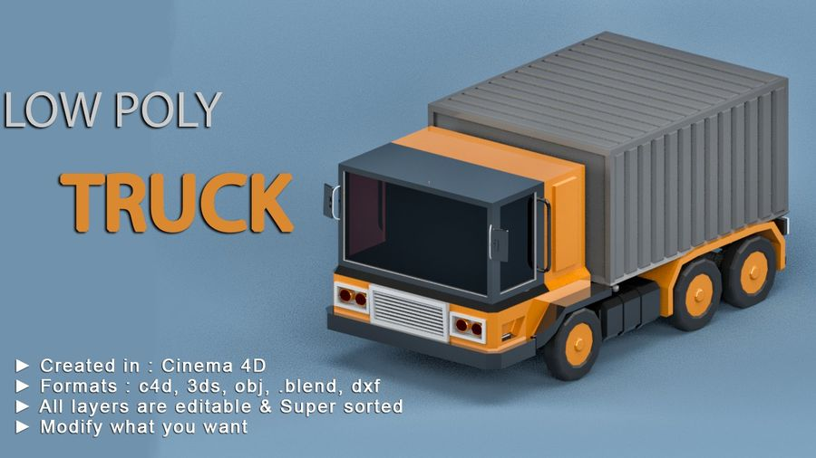 Cartoon Truck royalty-free 3d model - Preview no. 2