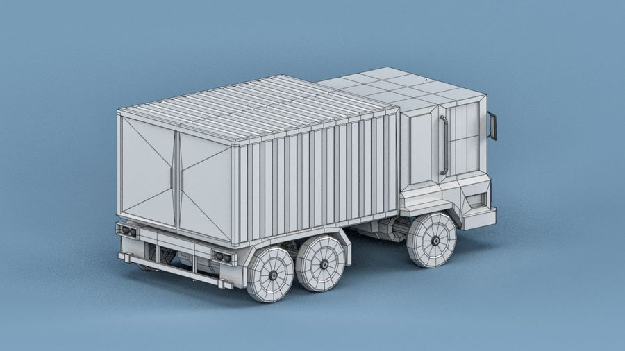 Cartoon Truck royalty-free 3d model - Preview no. 5