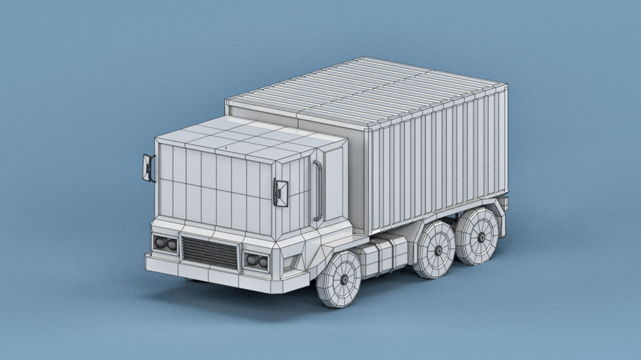 Cartoon Truck royalty-free 3d model - Preview no. 3