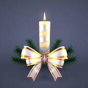 Christmas Candle Silver 3d model