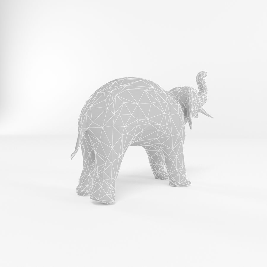Elephant Low Poly Mammal African Wild Animal Lowpoly Low-poly 3D-modell royalty-free 3d model - Preview no. 4