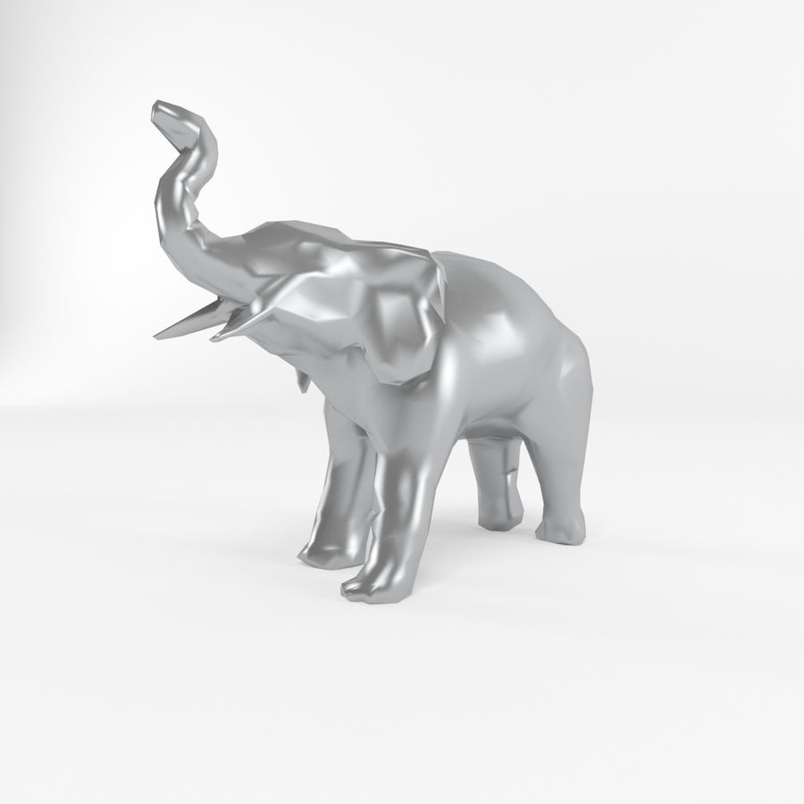Elephant Low Poly Mammal African Wild Animal Lowpoly Low-poly 3D-modell royalty-free 3d model - Preview no. 5