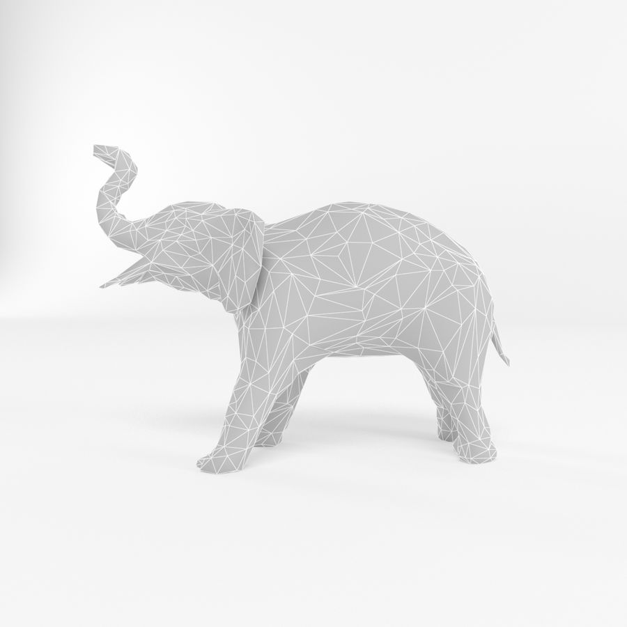 Elephant Low Poly Mammal African Wild Animal Lowpoly Low-poly 3D-modell royalty-free 3d model - Preview no. 2