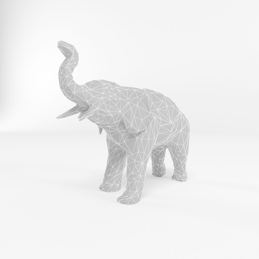 Elephant Low Poly Mammal African Wild Animal Lowpoly Low-poly 3D-modell royalty-free 3d model - Preview no. 1