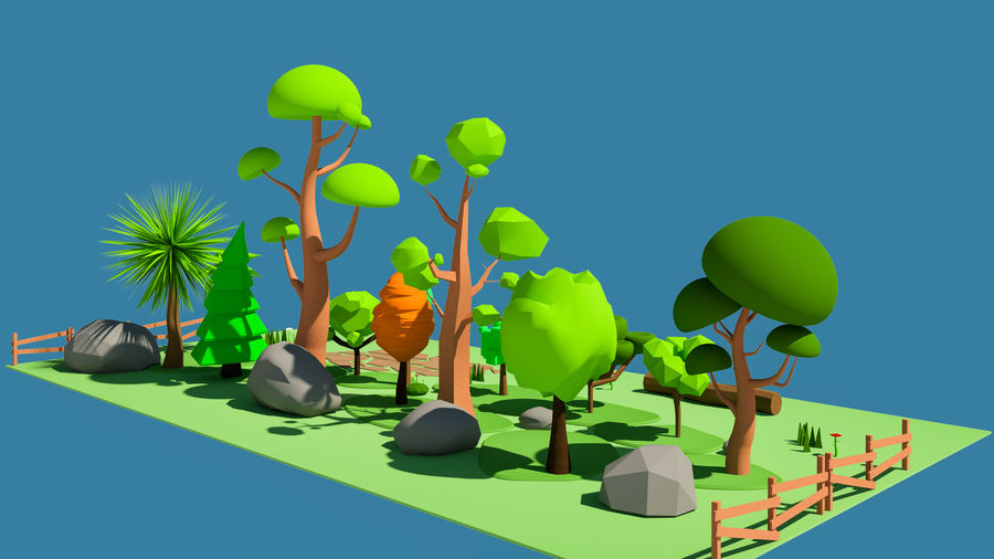 cartoon tree low poly 3D model royalty-free 3d model - Preview no. 3
