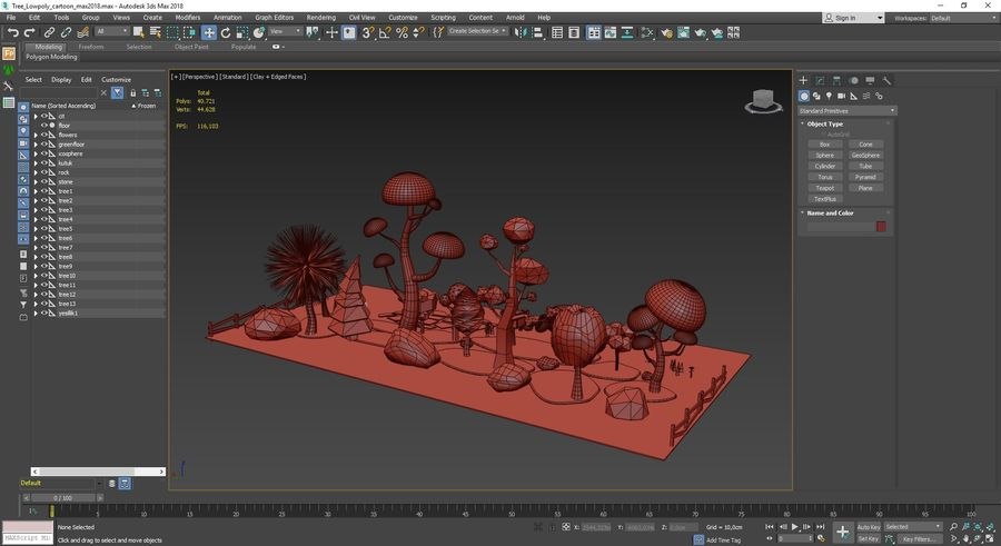 cartoon tree low poly 3D model royalty-free 3d model - Preview no. 14