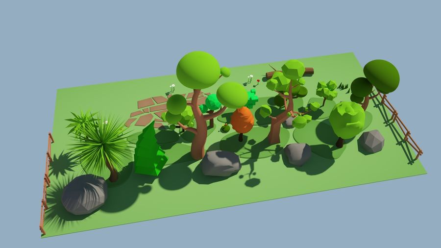 cartoon tree low poly 3D model royalty-free 3d model - Preview no. 10