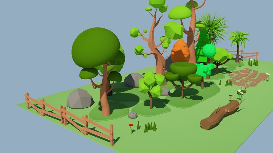 cartoon tree low poly 3D model royalty-free 3d model - Preview no. 7