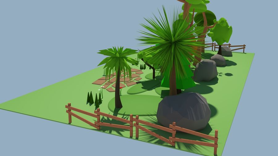 cartoon tree low poly 3D model royalty-free 3d model - Preview no. 9