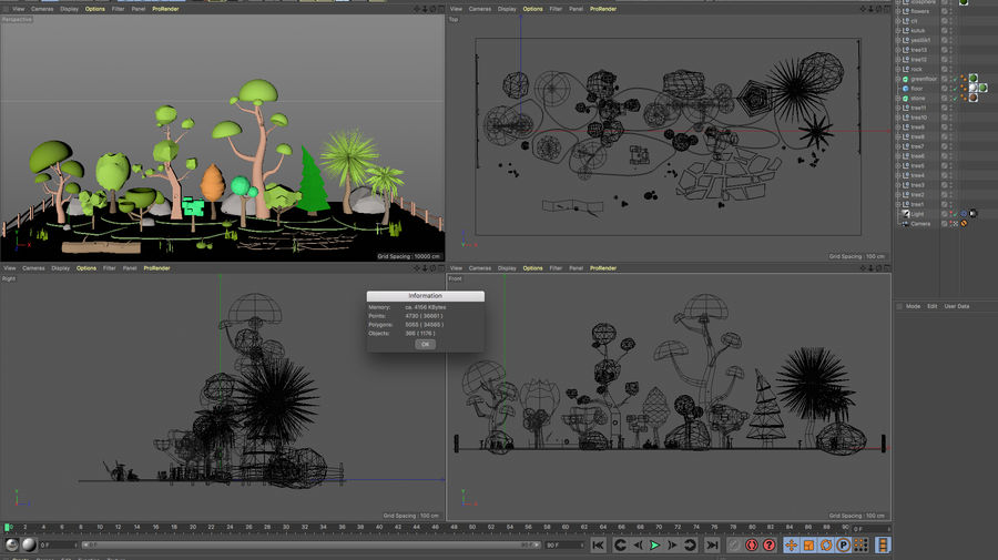 cartoon tree low poly 3D model royalty-free 3d model - Preview no. 13