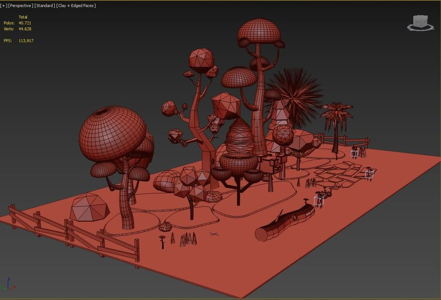 cartoon tree low poly 3D model royalty-free 3d model - Preview no. 15