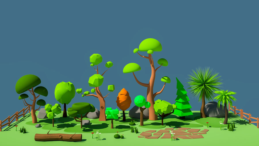cartoon tree low poly 3D model royalty-free 3d model - Preview no. 1
