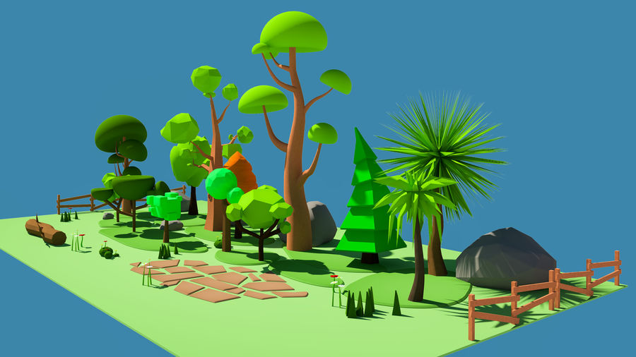 cartoon tree low poly 3D model royalty-free 3d model - Preview no. 2