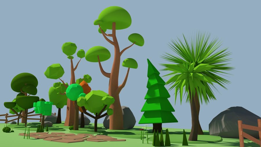 cartoon tree low poly 3D model royalty-free 3d model - Preview no. 11