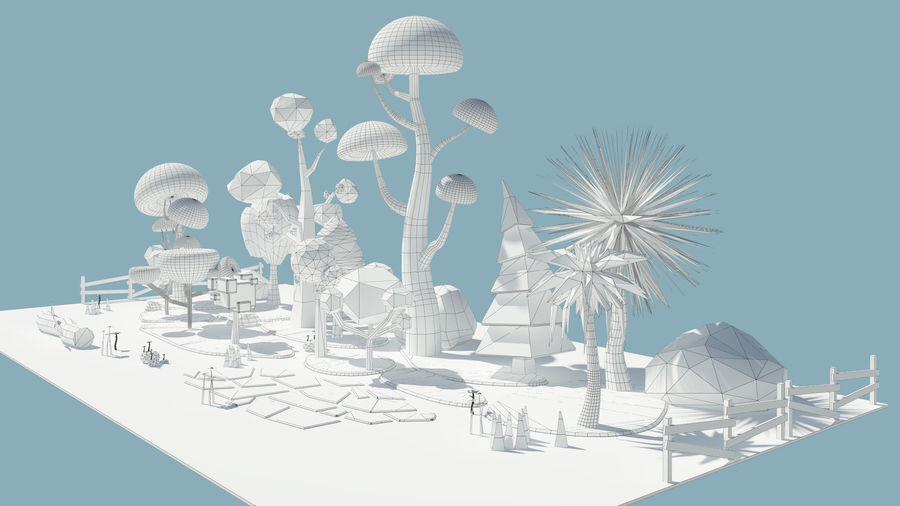 cartoon tree low poly 3D model royalty-free 3d model - Preview no. 5