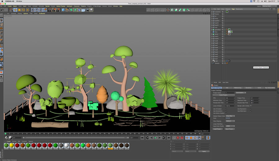 cartoon tree low poly 3D model royalty-free 3d model - Preview no. 12