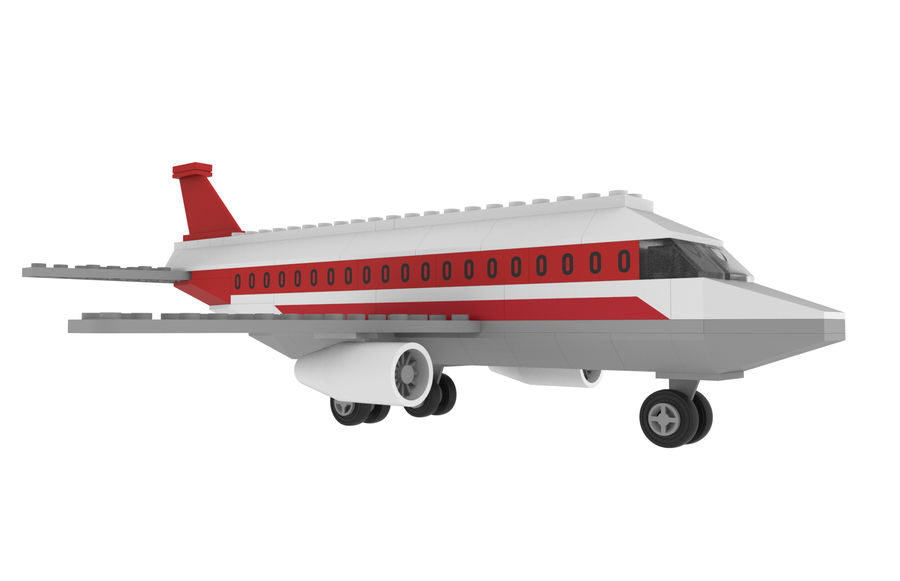 lego jet uçağı royalty-free 3d model - Preview no. 10