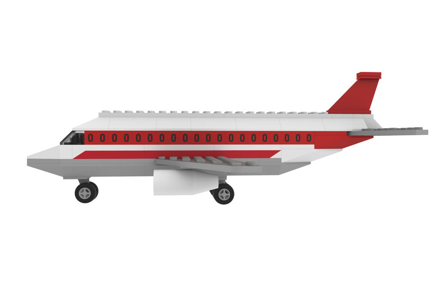 lego jet uçağı royalty-free 3d model - Preview no. 4