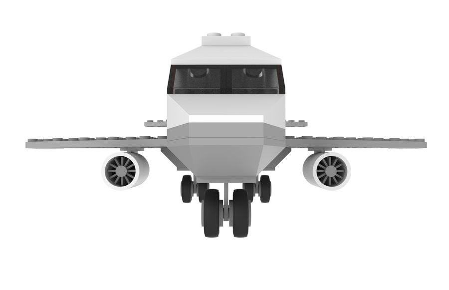 lego jet uçağı royalty-free 3d model - Preview no. 3