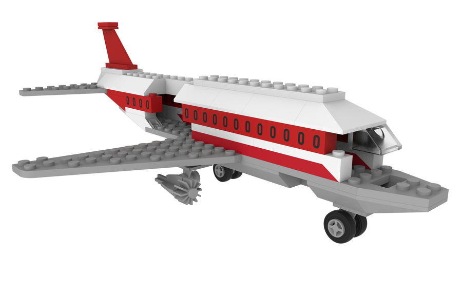 lego jet uçağı royalty-free 3d model - Preview no. 17