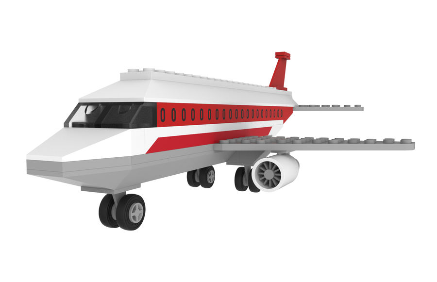 lego jet uçağı royalty-free 3d model - Preview no. 2