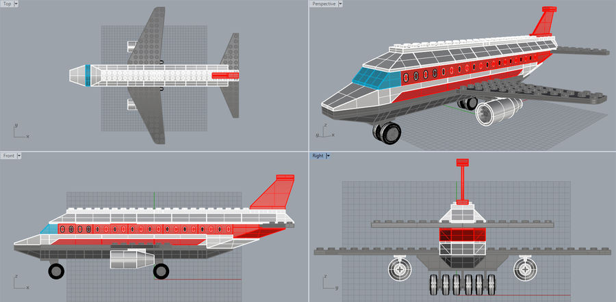 lego jet uçağı royalty-free 3d model - Preview no. 19