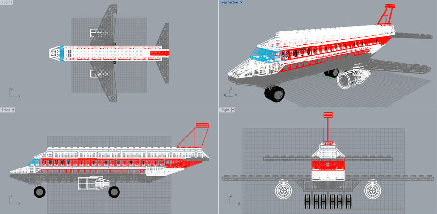 lego jet uçağı royalty-free 3d model - Preview no. 18