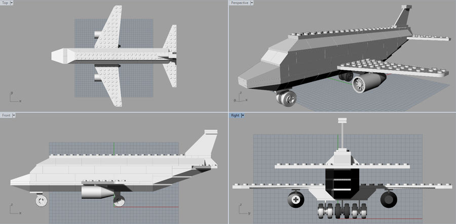 lego jet uçağı royalty-free 3d model - Preview no. 20