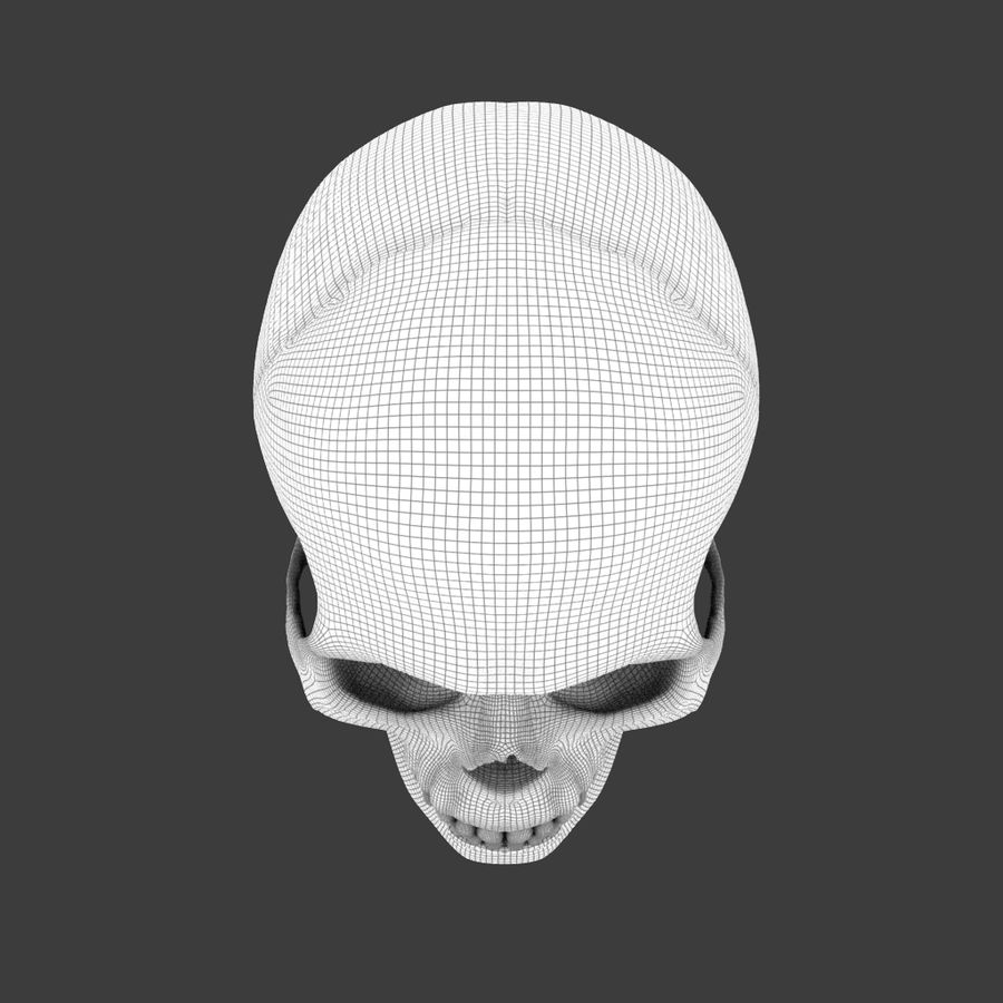 High Poly Skull royalty-free 3d model - Preview no. 9