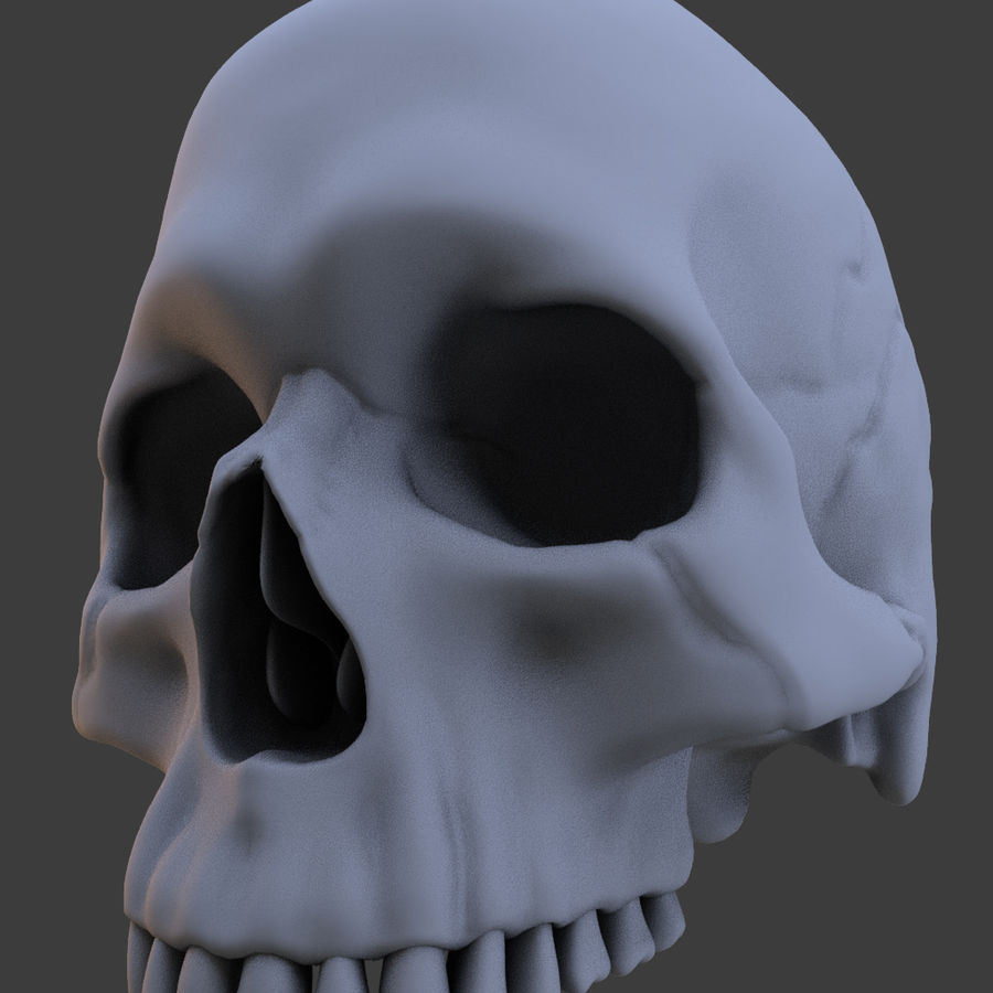 High Poly Skull royalty-free 3d model - Preview no. 14